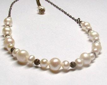 fresh water pearl necklace vintage style, arte nouveau