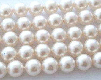 50 SWAROVSKI Crystal Pearl Beads 5810 6mm WHITE