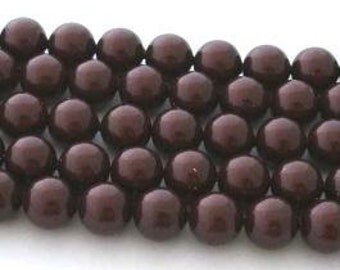 50 SWAROVSKI Crystal Pearl Beads 5810 6mm MAROON
