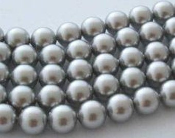 50 SWAROVSKI Crystal Pearl Beads 5810 6mm LIGHT GREY