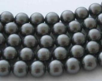 10 SWAROVSKI Crystal Pearl Beads 5810 10mm DARK GREY