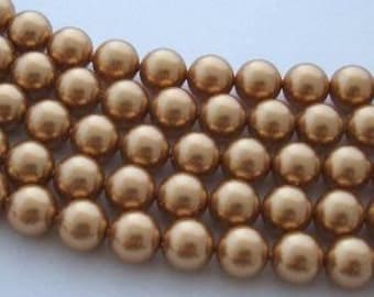50 SWAROVSKI Crystal Pearl Beads 5810 5mm BRIGHT GOLD
