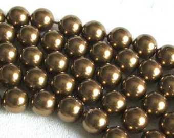 50 SWAROVSKI Crystal Pearl Beads 5810 6mm ANTIQUE BRASS