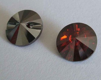 4 Swarovski 3015 Crystal Beads Button 12mm RED MAGMA
