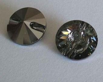 4 Swarovski 3015 Crystal Beads Button 12mm BLACK DIAMOND