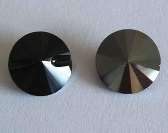 4 Swarovski 3015 Crystal Beads Button 12mm JET HEMATITE