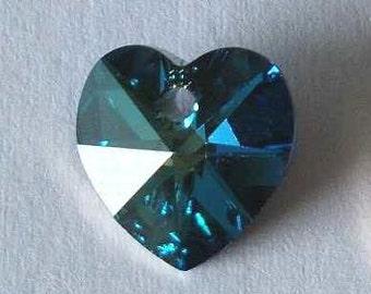 1 Big SWAROVSKI 6202 Heart Crystal Bead 28mm BERMUDA BLUE
