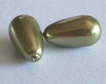 2 SWAROVSKI Half Drilled Pearl Drop 5816 15mm LIGHT GREEN