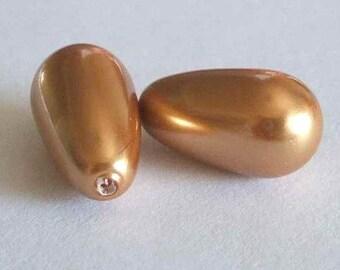 2 SWAROVSKI Half Drilled Pearl Drop 5816 15mm BRIGHT GOLD