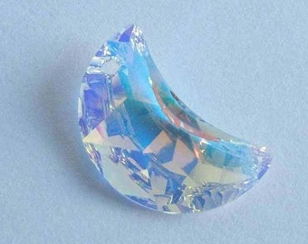 1 SWAROVSKI 6722 Half MOON Cresent Crystal AB 20mm Pendant Sparkle