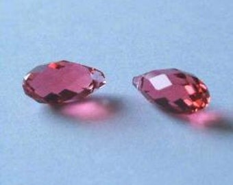 2 SWAROVSKI 6010 Briolette Crystal Beads PADPARADSCHA