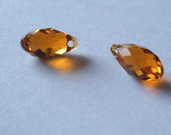 2 SWAROVSKI 6010 Briolette Crystal Beads TOPAZ