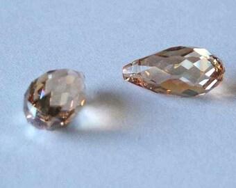 2 SWAROVSKI 6010 Briolette Crystal Beads 11mm GOLDEN SHADOW