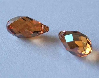 2 SWAROVSKI 6010 Briolette Crystal Beads 11mm COPPER