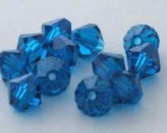 144 SWAROVSKI 5301 Bicone Crystal Beads 4mm CAPRI BLUE