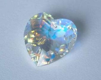 1 SWAROVSKI 6215 Disco Heart Crystal Bead 18mm CLEAR AB