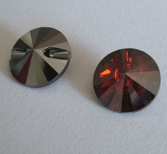 4 swarovski 3015 crystal beads button 12mm red magma - Swarovski crystal buttons ...