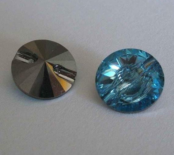 4 Swarovski 3015 Crystal Beads Button 12mm AQUAMARIME