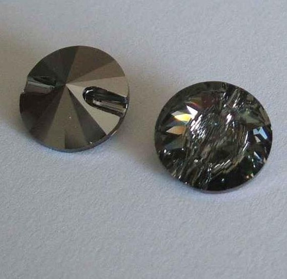 4 swarovski 3015 crystal beads button 12mm black diamond - Swarovski crystal buttons ...