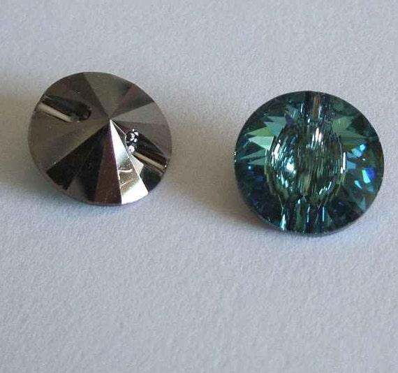 4 Swarovski 3015 Crystal Beads Light Green Button 12mm ERINITE