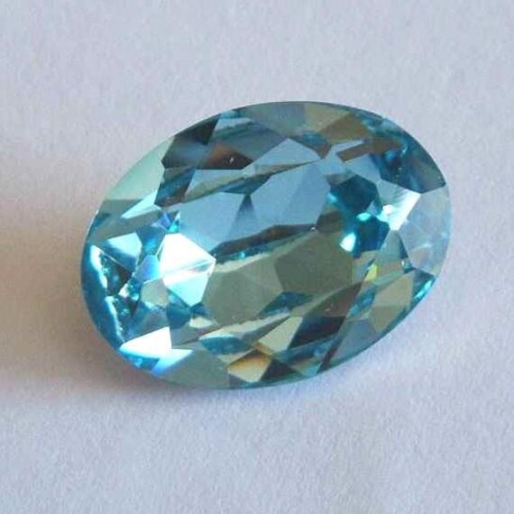 1 SWAROVSKI 4120 Sparkling Oval Crystal Fancy Stone 18mm AQUAMARINE
