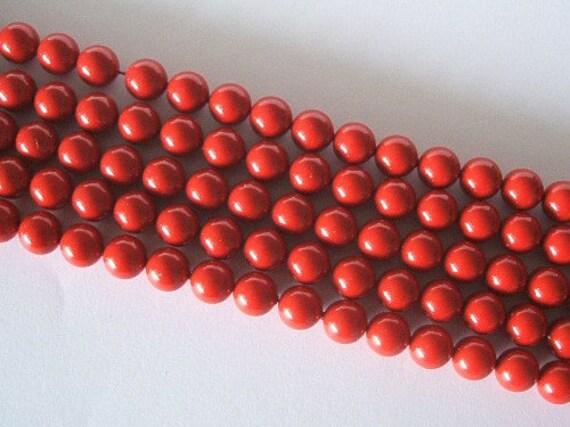 50 SWAROVSKI Crystal Pearl Beads 5810 6mm RED CORAL