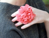 Cocktail Rings - Pink Chiffon Floral Ring - Coral Pink