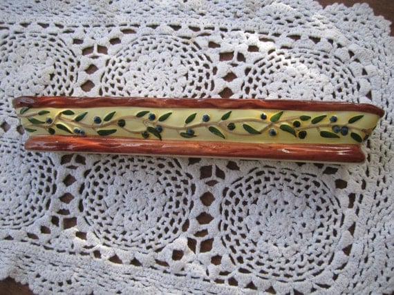 SALE NOW  6.00...unique olive dish, extra long pottery dish