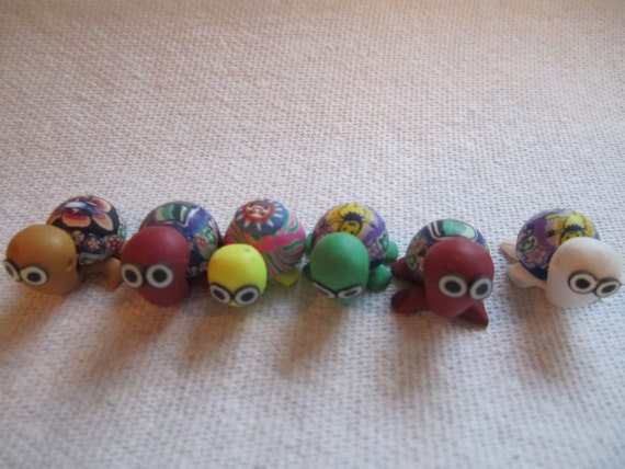 STOCKING STUFFERS...Six turtles mini, tiny, cute faces and cute nicely painted.