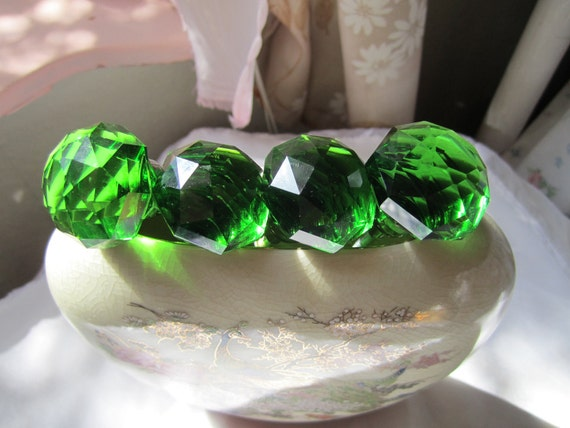 Sparkly green glass cabinet Knobs.