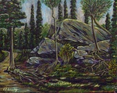 "Landscape Painting, Fine Art Print, 8""x10"" without mat, The Rock in the Woods'"