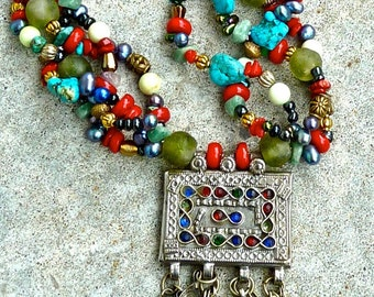 BOHO Ethnic Multi Strand Beaded Necklace, ChunkyTRIBAL Statement Necklace ,Gift For Her,Traditional Belly Dance Pendant ~Joy Moos Collection