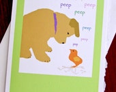 Easter Card - Puppy  - Chick - Springtime  5 x 7  High Quality  Easter Basket Card