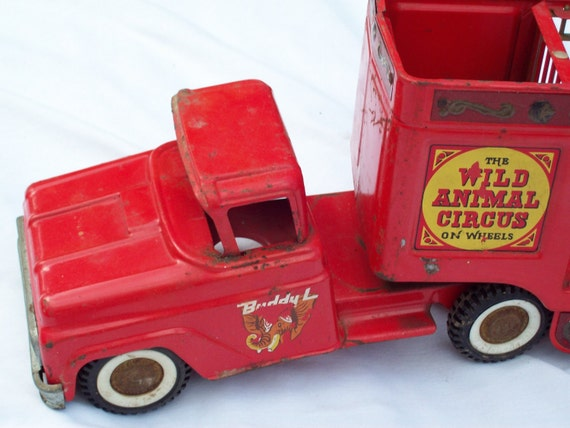 Vintage BUDDY L The Wild Animal Circus on Wheels Cherry Red SALE