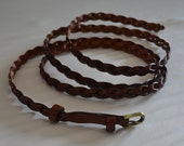 PLUS LENGTH Red Brown Extra Long Leather Skinny Braided Belt