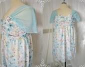 PLUS SIZE Bridesmaid Blue Yellow Purple Butterfly on White Chiffon Dress