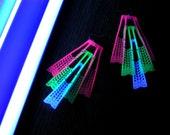 Neon glow colorful bright club wear raver kandi handmade recycled materials plastic minimal style minimalist cyber goth earrings eco design