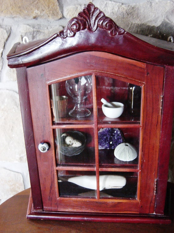 Curio Cabinet, Wall Shelf, Medicine Cabinet, Tropical Wood, Glass Front and sides, three shelves