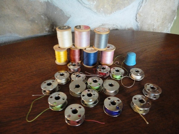 Vintage Lot of Thread and Bobbins, 7 Wooden Spools with Vintage Cotton Thread, and 16 Steel Bobbins with Vintage Cotton Thread