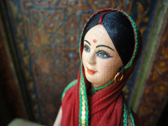 Indian Doll, East Indian, Hindu, Woman in Sari, Saree, Red, Green, and Gold, with Earrings