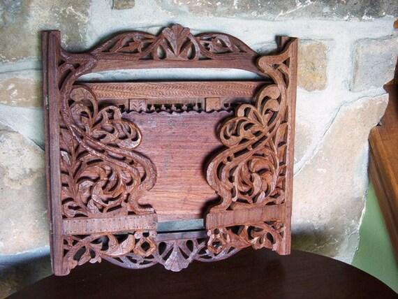 Carved Wooden Folding Shelf, Intricately Carved Shelf, Natural Wood, Bathroom Storage, Kitchen Storage, Bedroom Storage