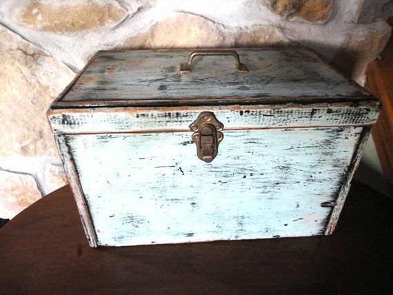 Handmade Wooden Tool Box, Toolbox, Plywood, Painted, Pale Robins Egg Blue, White, Black, Chippy, Divided, Primitive, Rugged