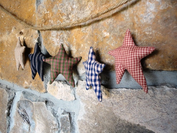 5 Fabric Stars, Star Ornaments, Stripes and Checks, Blue, Red, Tan, Green on Strings, Primitive Christmas, Country Chic
