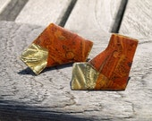 80s Earrings/ Woodgrain/ Paper Mache/ Wood Earrings/ Gold Post Earrings/ Large Earrings/ Rare Earrings/ 80s Glam/ Abstract Earrings/ Amber