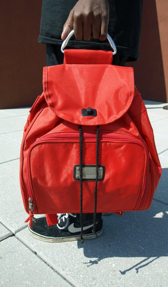 90s Red Back Pack Book Bag Metal Plates and Handle
