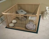 Beautifully hand-crafted 4'x4' solid Red Oak large dog kennel w/machine-washable floor.