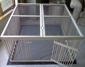 """A Distinctive """"Home within a Home"""" Pet Pen - Ready-to-Finish Solid Maple with Top Cover and Waterproof yet Machine-washable Floor Mat"""