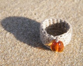 Free shipping. Crocheted Natural Linen Ring with Shiny Dark Honey - Cogniac Colour Baltic Amber Piece