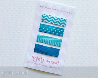 Baby Hair Clips - Turquoise Chevron Set - Baby/Infant/Toddler/Girls
