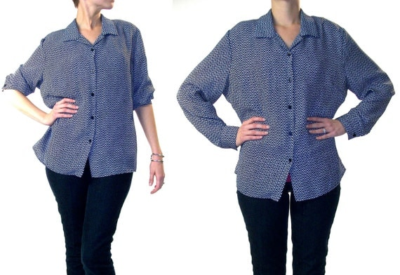 Sale - Shirt blouse Chevron print long sleeve navy and white zig zag